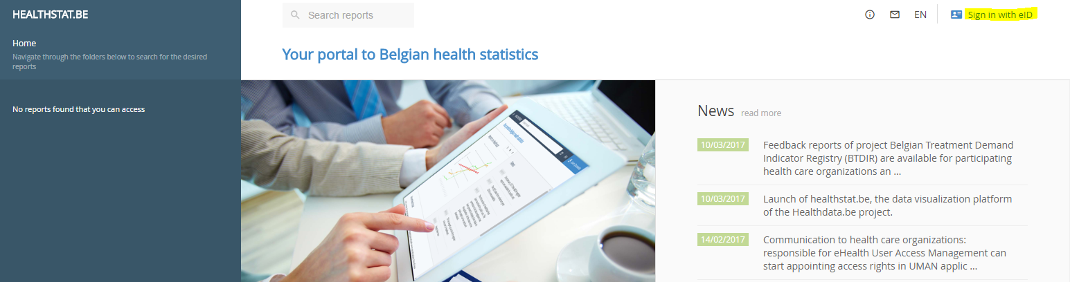 Healthstat screen with indication Sign in with eID
